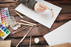Drawing in water-colors Royalty Free Stock Image