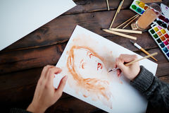 Drawing in water-colors Stock Photography