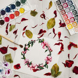 Drawing with watercolor. Flat lay, top view, wreath frame Royalty Free Stock Image