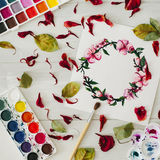 Drawing with watercolor. Flat lay, top view, wreath frame Royalty Free Stock Photos