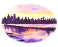 Drawing watercolor. Forest in the rays of sunsets. The forest is reflected in a quiet lake. Dark purple trees and clouds are reflected in transparent water stock illustration