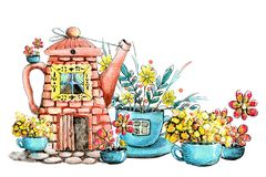 Drawing watercolor with the image of the house in the kettle and cup. Hand drawn. Design concept for tea, cafe, print, background royalty free illustration