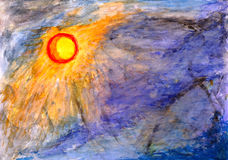 Drawing watercolor. The sun and storm sky Stock Photos