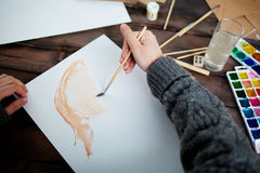 Drawing with watercolors Stock Image
