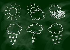 Drawing of weather icons Stock Images