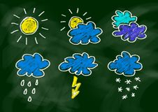 Drawing of weather icons Royalty Free Stock Image
