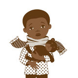 Drawing on a white background with a picture of a little black boy with a sore throat. Royalty Free Stock Photo
