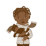 Drawing on a white background with a picture of a little black girl with a sore throat. Royalty Free Stock Photos
