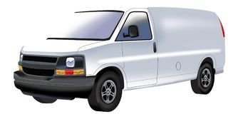 Drawing of white minivan stock image