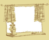 Drawing of window Royalty Free Stock Photos