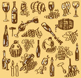 Drawing wine. Figure bottles with wine, barrels and wine glasses on a beige background Stock Photo
