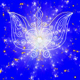 Drawing wings with a heart on blue background Royalty Free Stock Photos