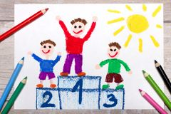 Drawing: winners on the podium. Photo of colorful drawing: winners on the podium royalty free stock image
