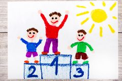 Drawing: winners on the podium. Photo of colorful drawing: winners on the podium royalty free illustration