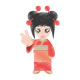 Drawing woman asian clothes Royalty Free Stock Photography