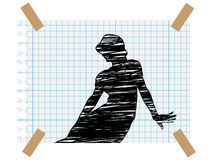 Drawing woman on paper Royalty Free Stock Images