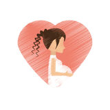 drawing woman pregnant heart decorative Royalty Free Stock Photos