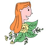 Drawing of a woman with floral elements. Drawing of a woman profile with floral elements Royalty Free Stock Image