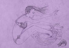 Drawing of a woman swimming bubbles, woman immersed,. Drawing of a woman swimming Stock Photography