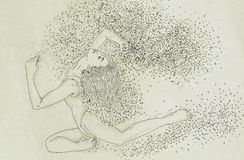 Drawing of a woman swimming bubbles, woman immersed,. Drawing of a woman swimming Stock Photos