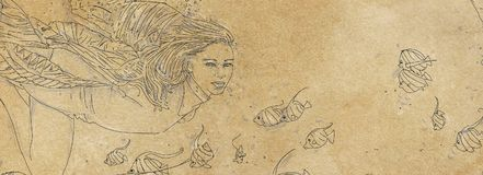 Drawing of a woman swimming bubbles, woman immersed,. Drawing of a woman swimming Royalty Free Stock Image