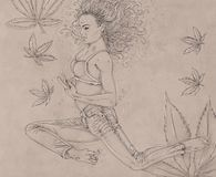 Drawing of a woman swimming with  mariuana leavesand bubbles, woman immersed,. Drawing of a woman swimming with  mariuana leavesand bubbles Royalty Free Stock Photography