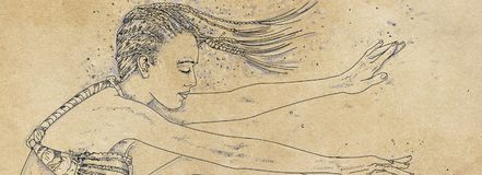 Drawing of a woman swimming bubbles, woman immersed,. Drawing of a woman swimming Royalty Free Stock Photography