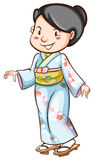 A drawing of a woman wearing an Asian dress Stock Image