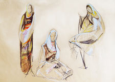 Drawing of women in Balkan clothes Royalty Free Stock Photography