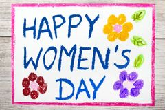 Drawing: Women`s Day card on wooden backgroun. Photo of colorful drawing: Women`s Day card on wooden background vector illustration