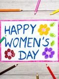 Drawing: Women`s Day card on wooden background. Photo of colorful drawing: Women`s Day card on wooden background stock illustration