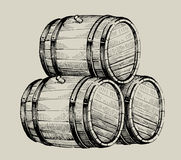 Drawing wood barrel stock illustration