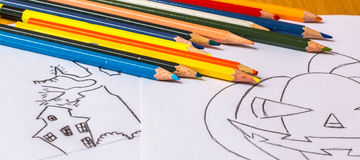 Drawing. Wooden colorful pencils for coloring pictures Royalty Free Stock Photos