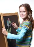 Drawing on a wooden easel Royalty Free Stock Images