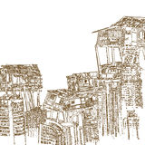 Drawing of wooden house on high building on white background Royalty Free Stock Image