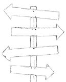 Drawing wooden signpost Stock Images