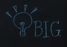 Drawing word big and light bulb Stock Photo