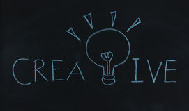 Drawing word creative and light bulb Stock Image