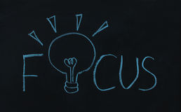 Drawing word focus and light bulb Stock Image