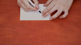 Drawing word Job. Interlocutor writes note with the word Job stock video footage