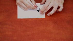 Drawing word Maybe. Interlocutor writes note with the word Maybe stock footage