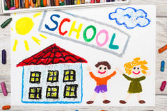 Drawing: Word SCHOOL, school building and happy children. Photo of  colorful drawing: Word SCHOOL, school building and happy children. First day at school Stock Photography