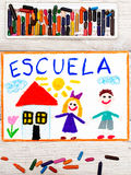 Drawing: Word SCHOOL, school building and happy children. Stock Photography