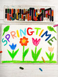 Drawing: word SPRINGTIME and flowers royalty free stock images