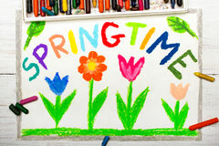 Drawing: word SPRINGTIME and flowers. Colorful drawing: word SPRINGTIME and flowers Royalty Free Stock Photo