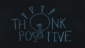 Drawing word think positive and light bulb Royalty Free Stock Photos