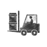 drawing worker forklift boxes cargo figure pictogram royalty free illustration