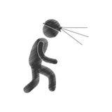 Drawing worker mining helmet light head figure pictogram Royalty Free Stock Images