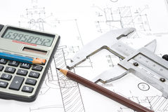 Drawing and working tools. Professional architecture drawings and working tools Stock Photos