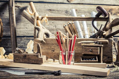 Drawing workshop and old carpentry workbench Stock Image
